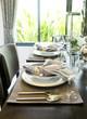 Leinwanddruck Bild - Ceramic tableware on the table