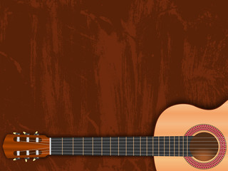 guitar music background on grungy brown