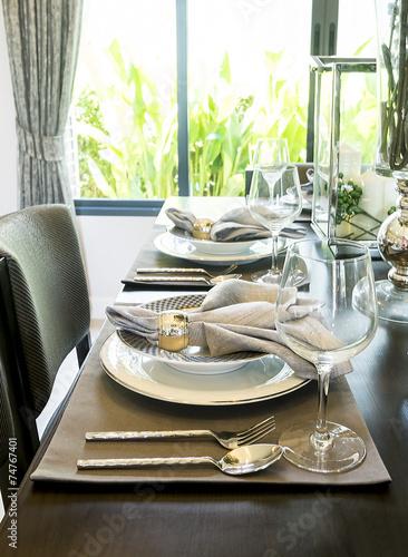 Leinwanddruck Bild Ceramic tableware on the table