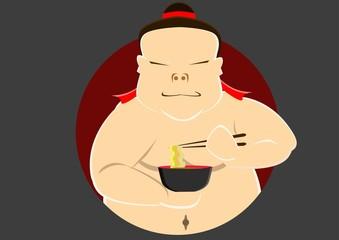 Japanese Sumo Eat a noodle
