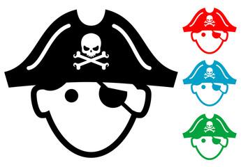 Pictograma icono pirata con varios colores