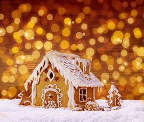 Winter Holiday Gingerbread house .