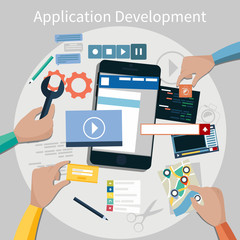 Mobile application development concept