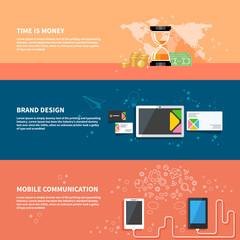 TIme is money, branding, communication concept set