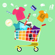 Online shopping cart with goods concept - 74769200