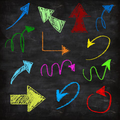3d set of chalk arrows