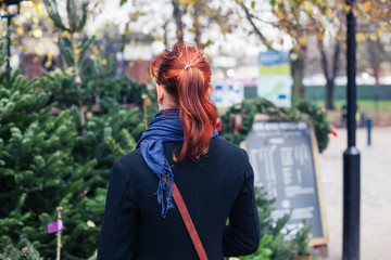 Young woman shopping for christmas trees