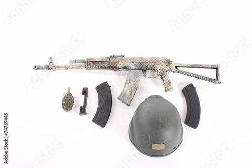 Poster AKM (Avtomat Kalashnikova) Kalashnikov assault rifle on white