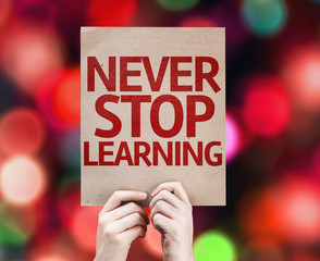 Never Stop Learning card with colorful background