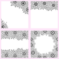 set of black and white backgrounds with flowers