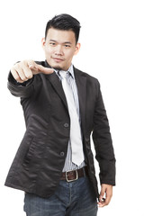 face of asian man pointing hand to watching to isolated on white