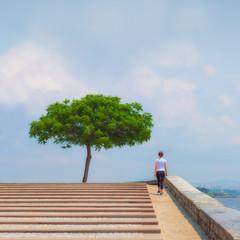 Runner girl - athlete running the stairs, woman fitness