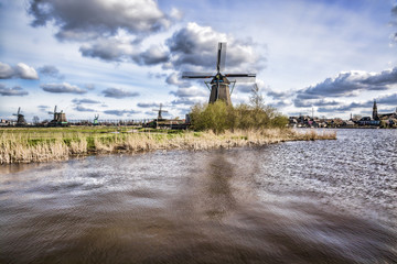Dutch windmills with canal close the Amsterdam, Holland