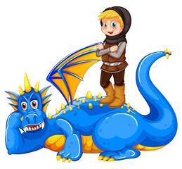 A boy taming the dragon