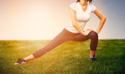 Athlete girl - athlete exercise at outside, woman fitness
