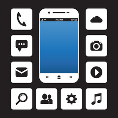 Cellphone with app icons