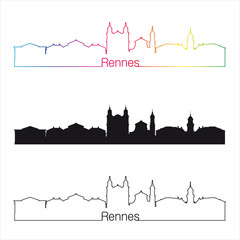 Rennes skyline linear style with rainbow