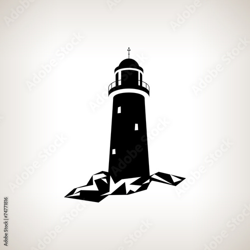 Silhouette lighthouse on a light background - 74771816