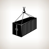 Silhouette container with crane on a light background - 74772053
