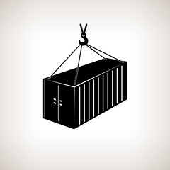 Silhouette container with crane on a light background