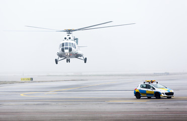 Helicopter car fog mist