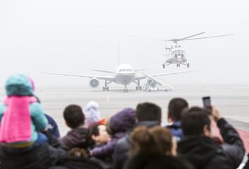 Airplane helicopter mist haze