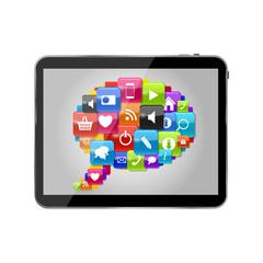 Glass Button Icon Set Speech Bubble on Tablet PC Concept . Vecto