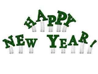 Happy New Year green letters