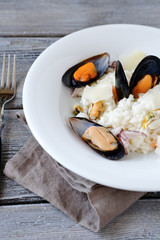 Lunch - rice with mussels