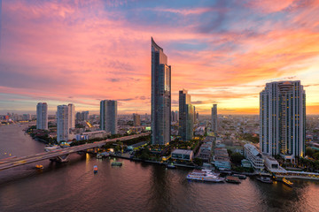 Bangkok city at dusk,Chaopraya river