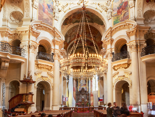Keuken foto achterwand Praag Interior Of Baroque Church Of St. Nicholas - Old Town Square in