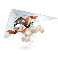 The Teddy bear is flying on a hang glider in the sky