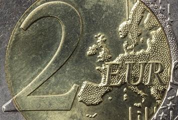 2 Euro Münze - Makroaufnahme