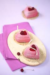 Mini Cherry Mousse Heart Cakes