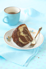 Piece of Marble Cake with Chocolate Frosting