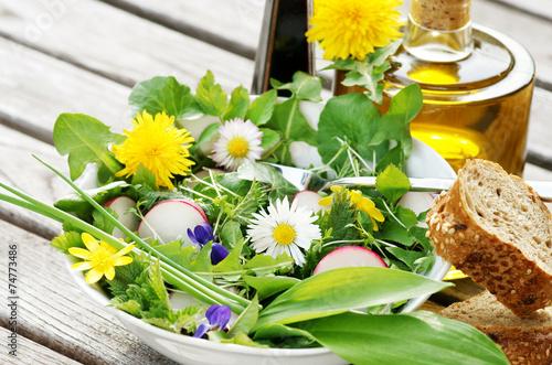 Fotobehang Salade Salat aus Frühlingskräutern, Copyspace