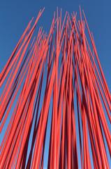 Red metal poles
