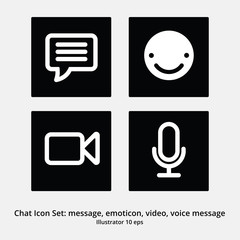 Basic Chat Icon Set: Message, Emoticon, Video Chat, Voice Messag