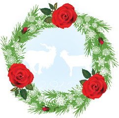 decorated fir round frame with red roses