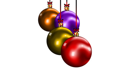 Bolas de navidad con lazos fondo blanco
