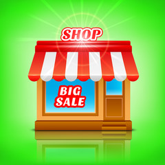Shop icon. Big sale, vector illustration