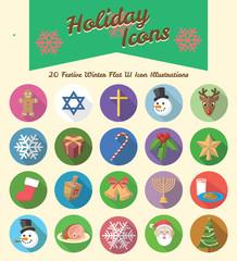 Winter Holiday Circular Long Shadow Icon Illustrations
