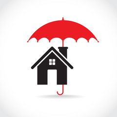 House with umbrella, illustration
