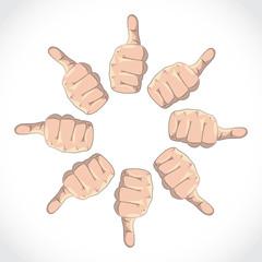 Set of thumbs, expressing various gestures