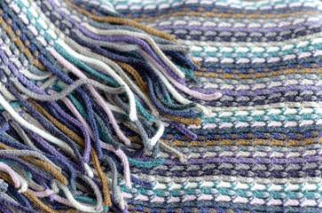 Knitting background texture, striped blue color
