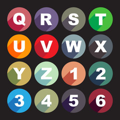 Simply alphabet letters, rounded buttons in flat design