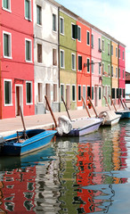 houses of the island of Burano with waterway