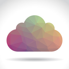 Polygonal cloud symbol, illustration