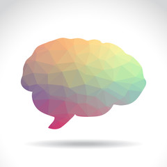 Polygonal symbol of brain, illustration