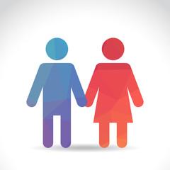 Man and woman polygonal symbol